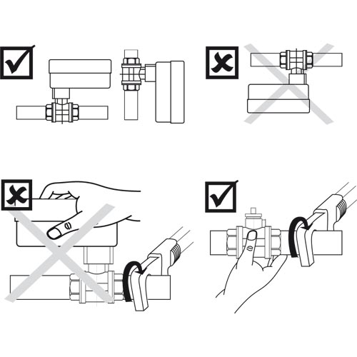 A golyóscsap beszerelési poziciói