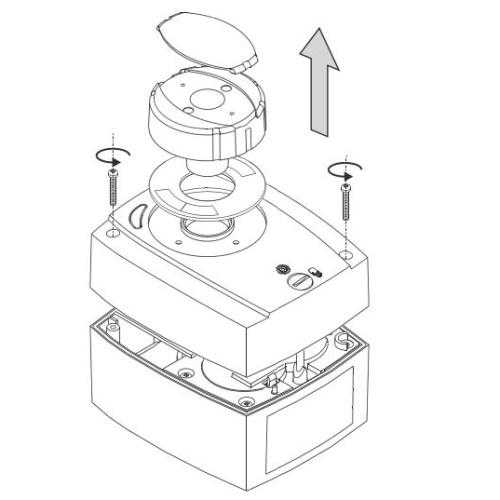 A motoros keverőszelep meghajtómotor fedelének leszerelése átkábelezéshez