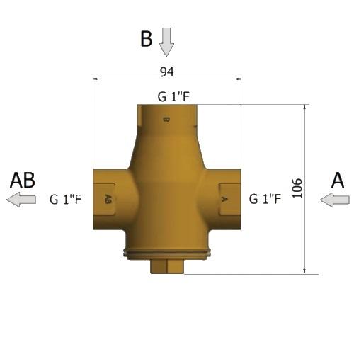 A Regulus TSV3B kazánvédő szelep befoglaló méretei