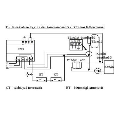 Differenciál termosztát alkalmazása melegvíz előállítása kazánnal és elektromos fűtőpatronnal.