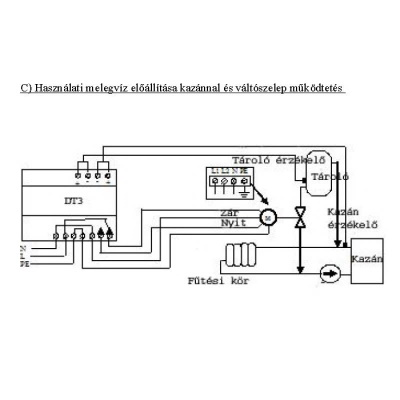 Differenciál termosztát alkalmazása melegvíz előállításra kazánnal és váltószelep működtetésre.