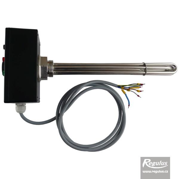 Nikelezett felületű 4,5kW-os elektromos fűtőszál termosztatikus fejjel.