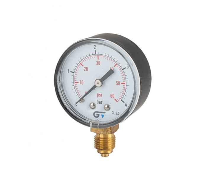 Nyomásmérő óra, alsó bekötésű, 0-4 bar, G1/4