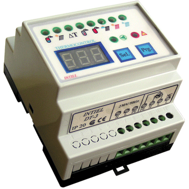DT-3.1 Digitális vezérlőegység 2 bemenettel, 2db PT 1000 szenzorral. DIN sinre szerelhető.