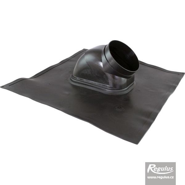 Alakítható aluminium lemez ferdetetőn kivezetéshez, átm. 125 mm, fekete, 18°- 44° (A5025036).