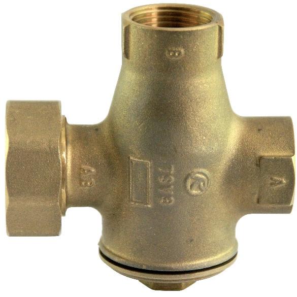 TSV3BF - 46°C Kazánvédő szelep, bypass szeleppel, szivattyú csavarzattal.