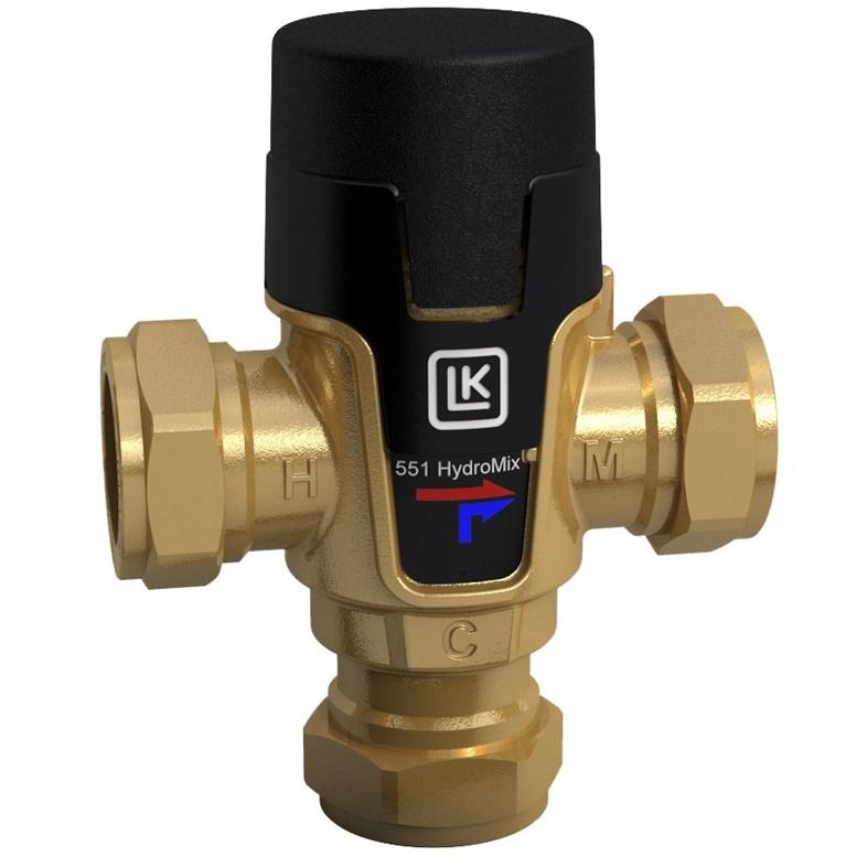 TVmix termosztatikus keverőszelep, 35-65 °C, Cu 22x1, Kvs=1,8 m3/h